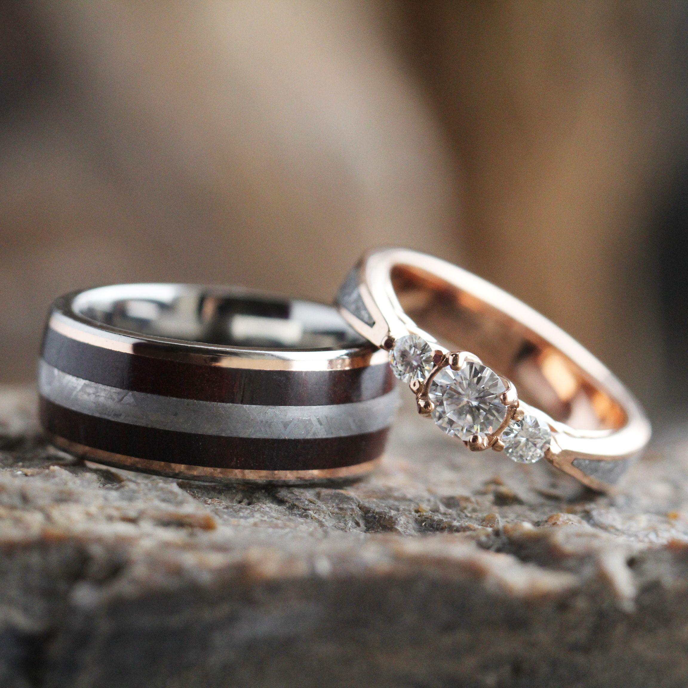 Meteorite Wedding Ring Set, Moissanite Engagement Ring With Petrified Wood  Wedding Band3552