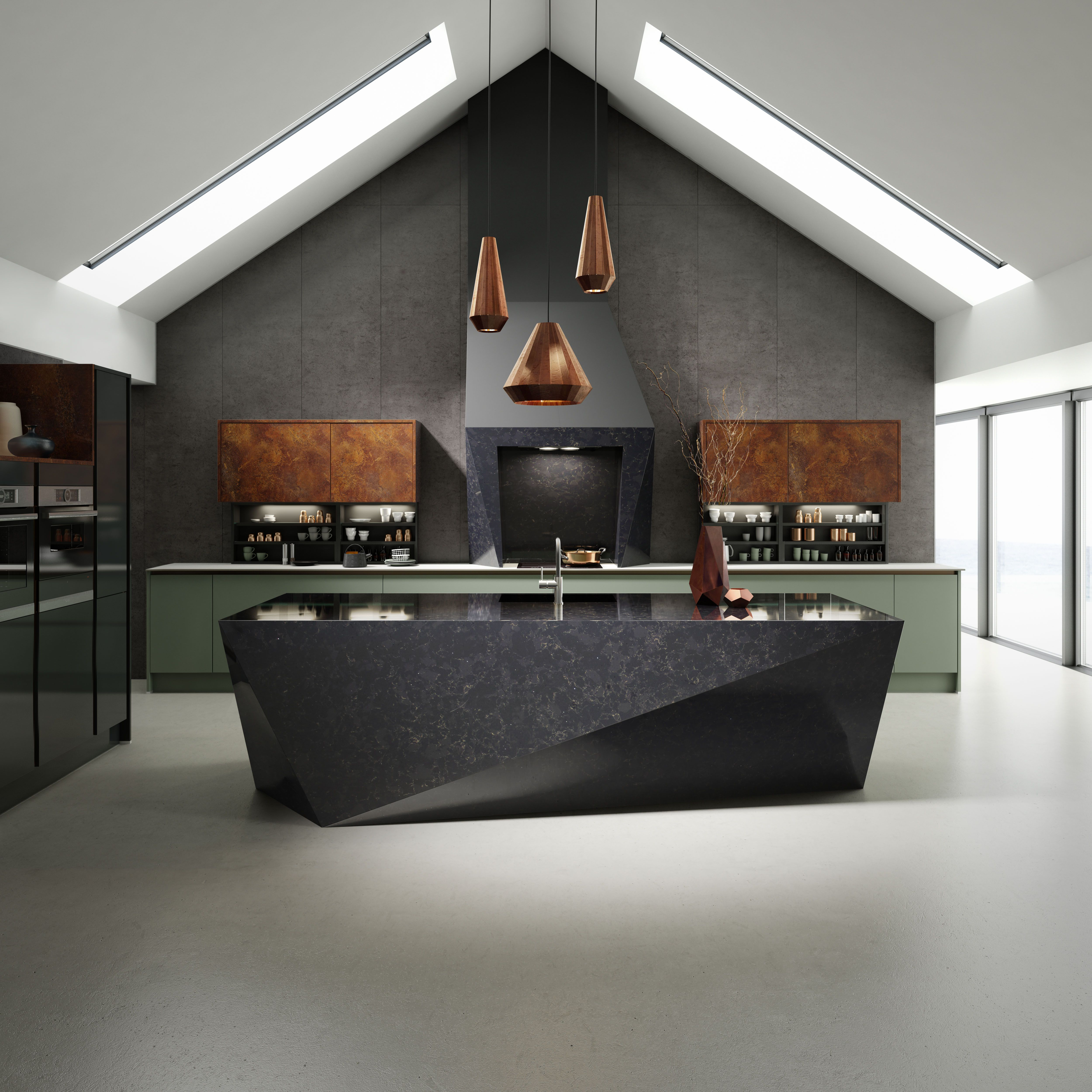 Milano Elements Kitchen | Available At Wren Kitchens | Trendy Black And  Copper Angular Worktops In