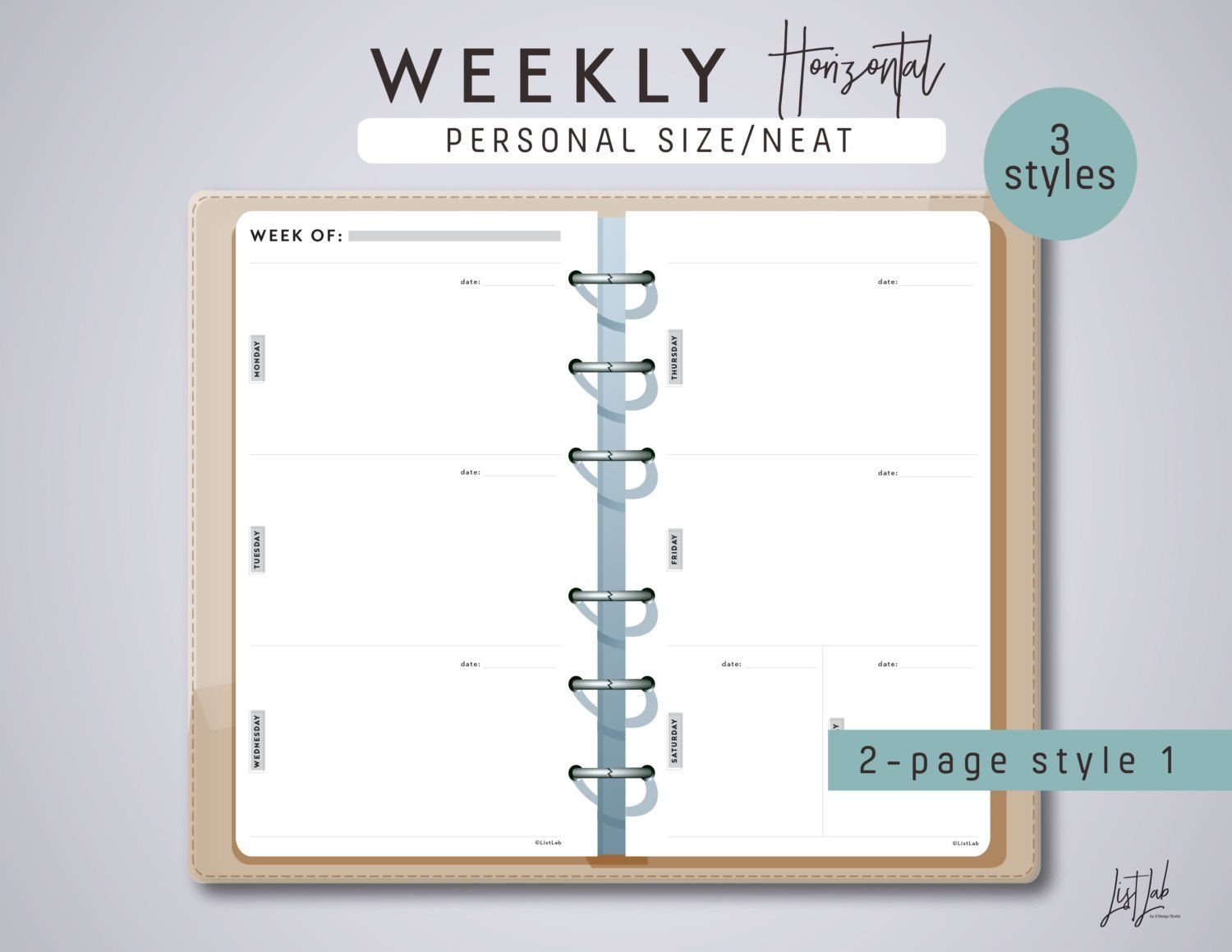 This Perpetual Weekly Horizontal Planner Set Is Perfect