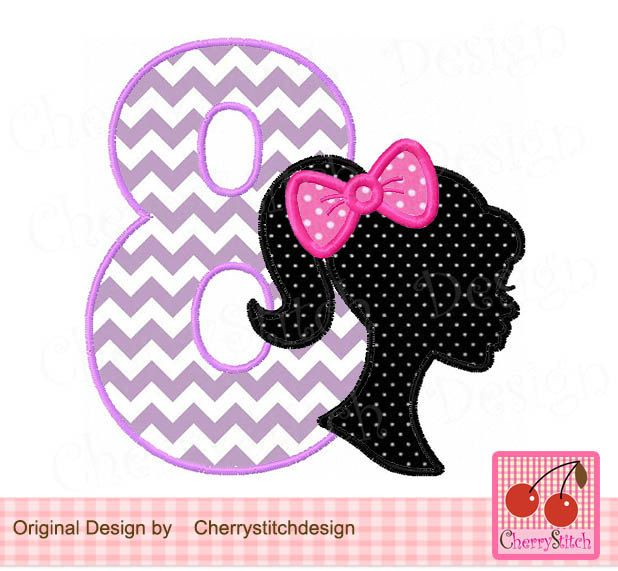 Birthday number 8 with Barbie,Barbie silhouette with bow,Barbie Number 8 Applique -4x4 5x5 6x6 inch-Machine Embroidery Applique Design by CherryStitchDesign on Etsy