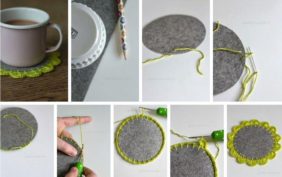 Patrones Crochet: Posavasos de Fieltro y Puntilla de Crochet ...