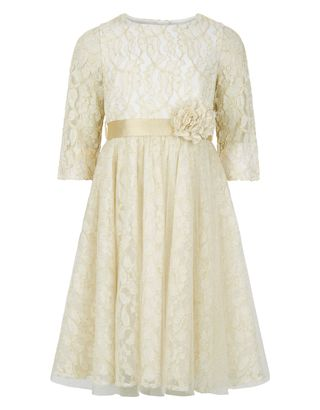 Stand out at special occasions with our Therese lace party dress for girls. This elegant style features  a detachable corsage,  a sparkle ribbon tie and a ga...