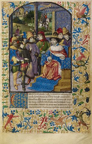 The Story of Two Lovers  The French King at Court  Unknown  French, about 1460 - 1470  Tempera colors and gold paint on parchment  6 15/16 x 4 1/2 in.  MS. 68, FOL. 1