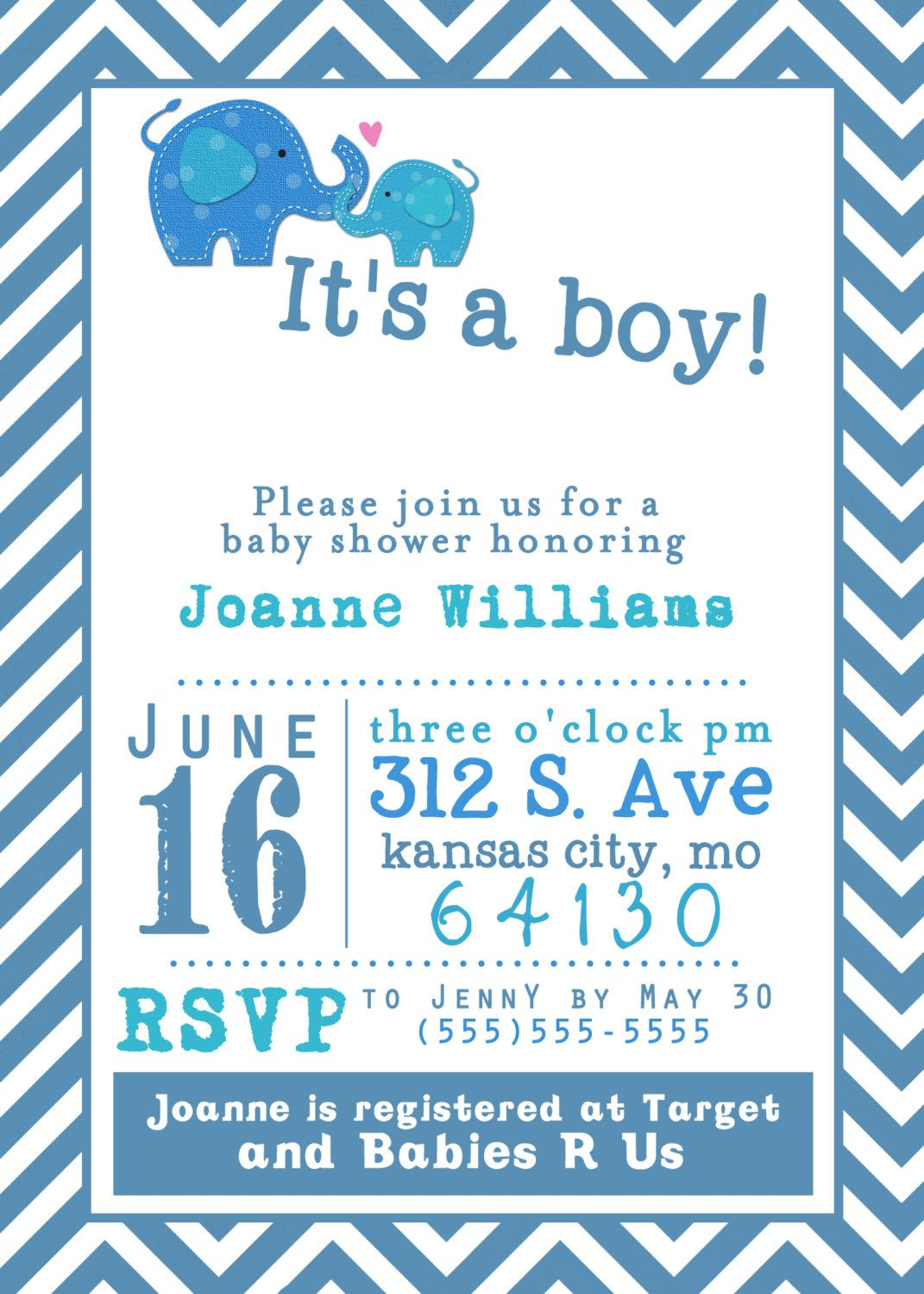 It\'s a Boy Baby Shower Invitation - Elephants - Printable, Custom ...