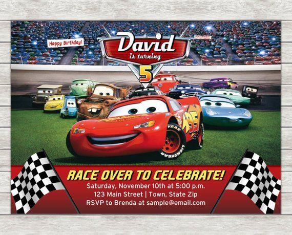 Disney Cars Birthday Invitation Lightning McQueen