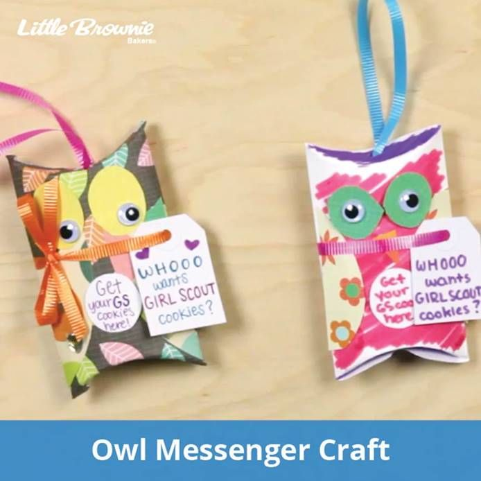 This cute owl messenger lets eager customers know that girls are selling Girl Scout Cookies.