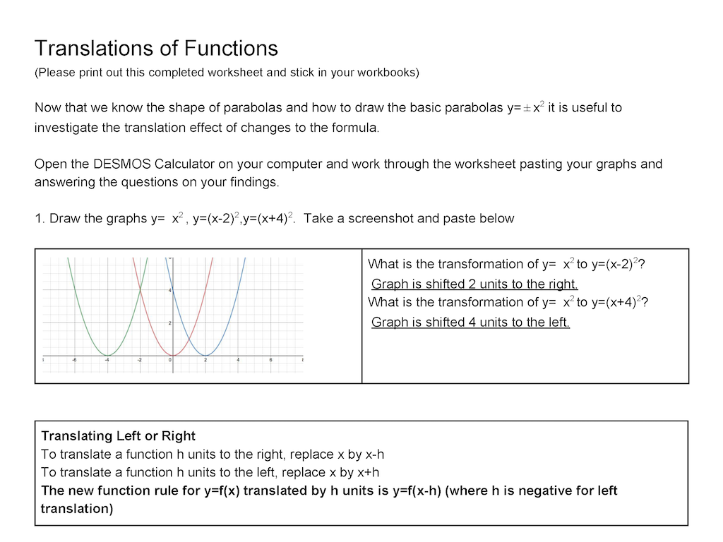 Translations Of Functions Desmos A Worksheet For Guided