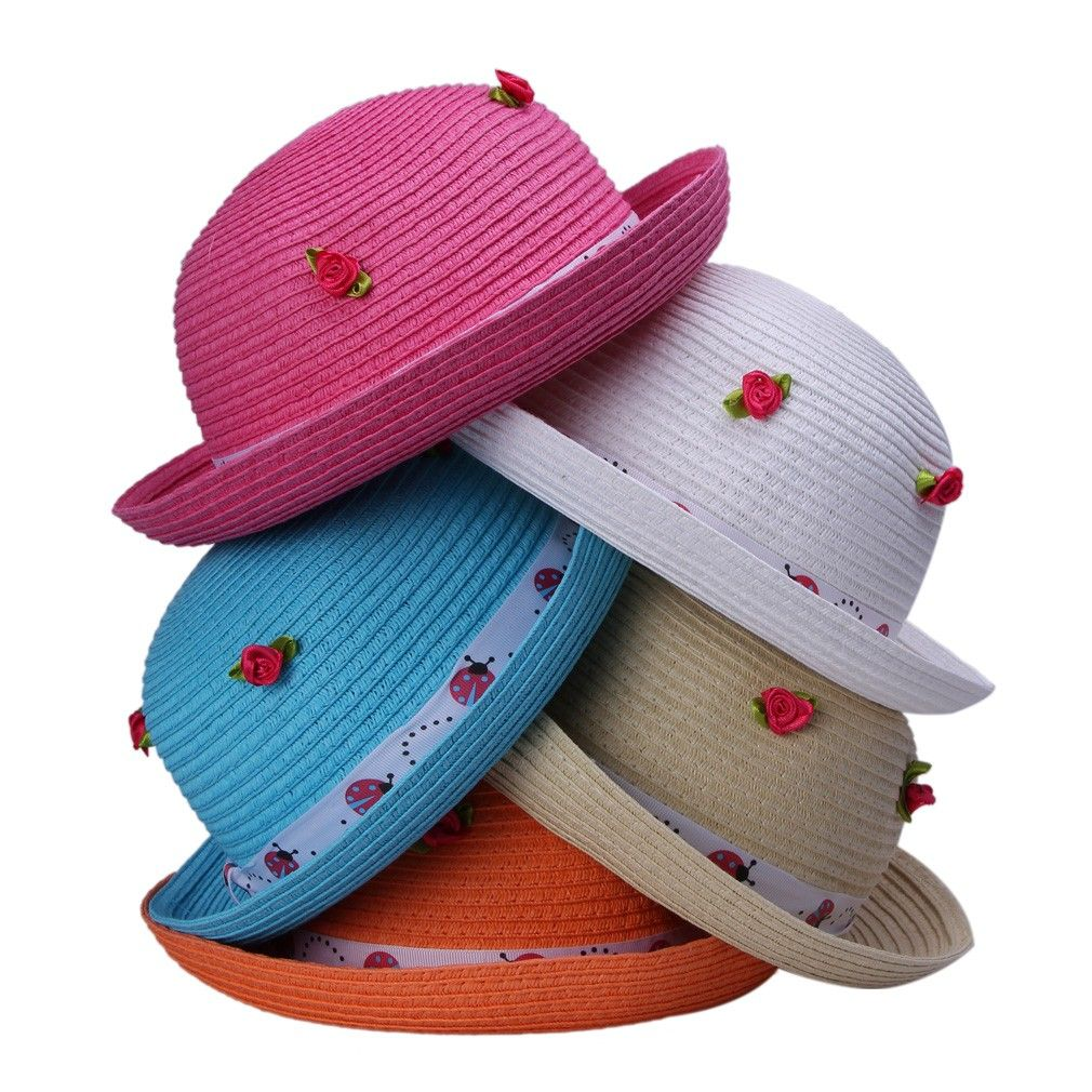 0c168f7795be7 Lovely Polyester Roses Small Children Rose Straw Hat Candy Color Cap ...