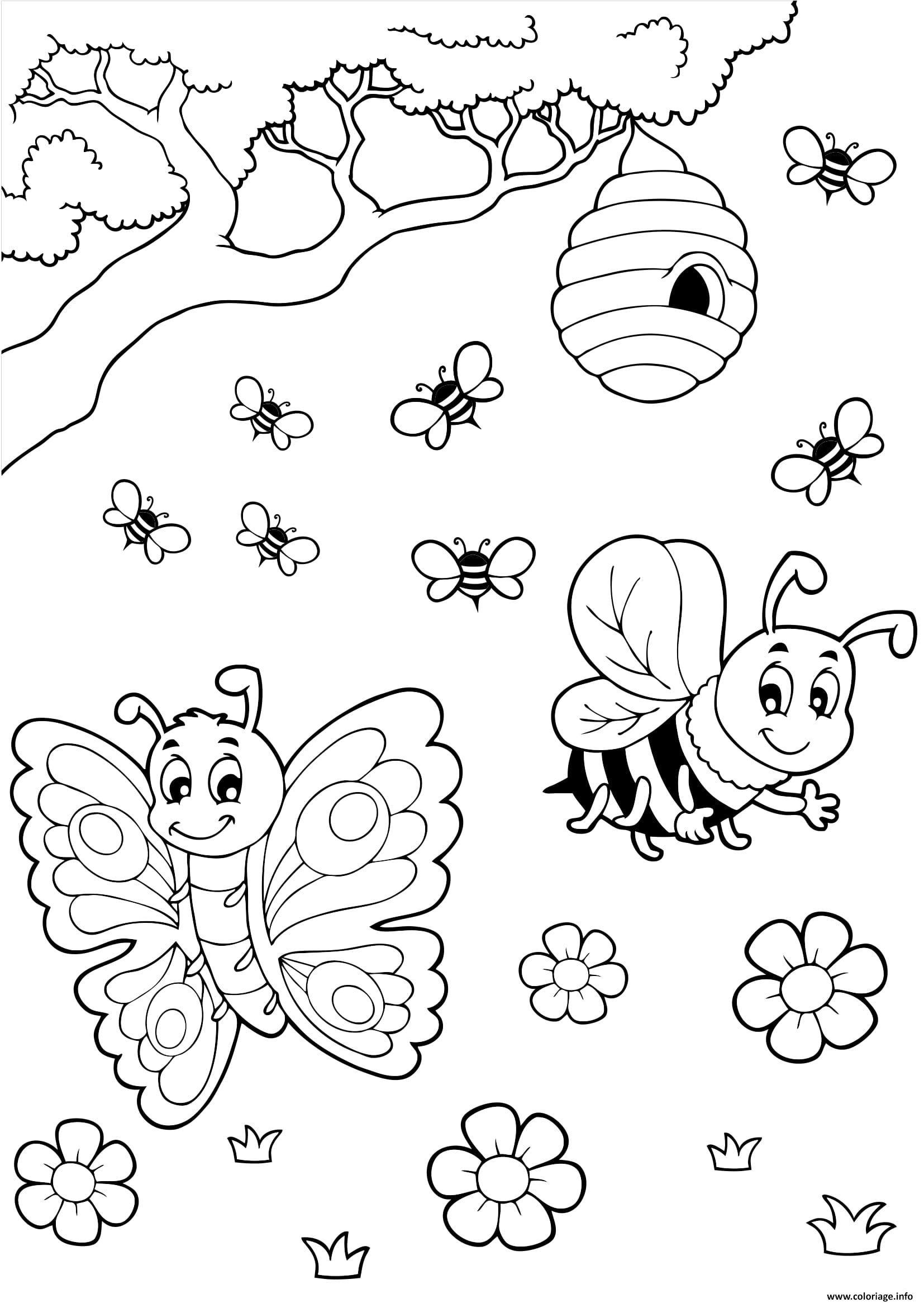 Coloriage Papillon Et Abeille.Coloriage Papillon Abeille Miel Dessin A Imprimer Inspirations