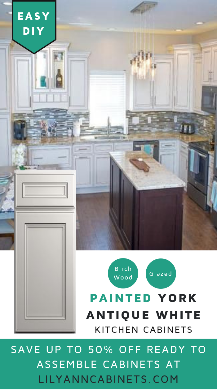 #LilyAnnCabinets York Antique White painted cabinets is ...