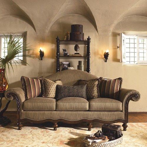 Ernest Hemingway 462 Pauline Camel Back Sofa with Exposed Wood