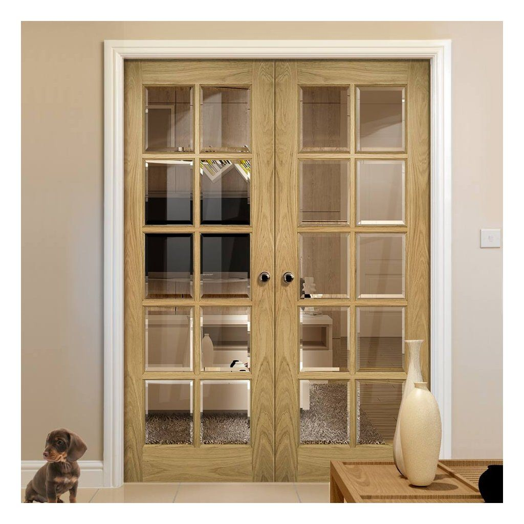 Bristol Oak Unfinished Door Pair 10 Pane Clear Bevelled Glass Internal Oak Doors Solid Oak Doors Door Fittings