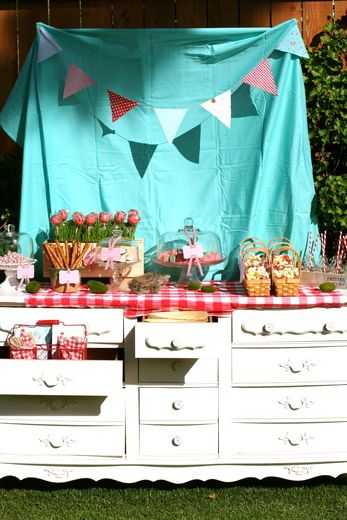 We used this idea for my daughter's baby shower.  Bought a $29 dresser at a garage sale.  Filled drawers with moss and served the refreshments.  Awesome!