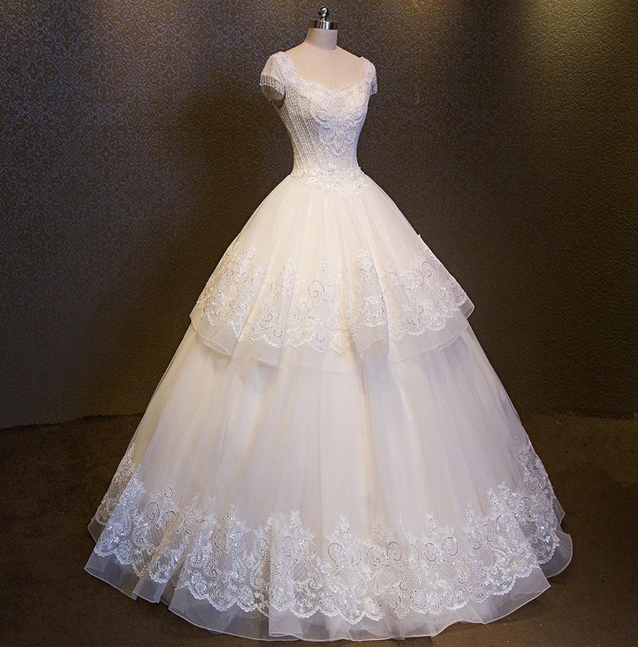 Wedding dress double vneck luxury ball gown collar crystals cap
