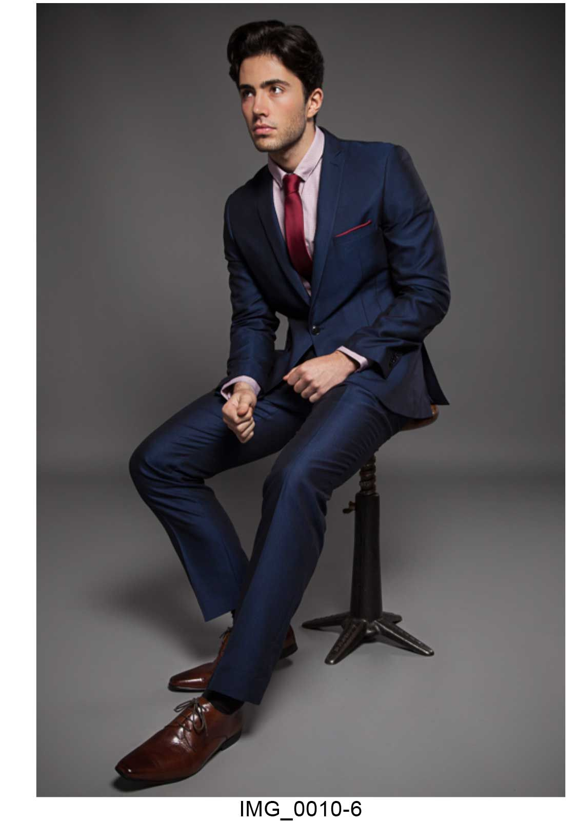 blue onesix5ive slim fitted suit with red tie and check