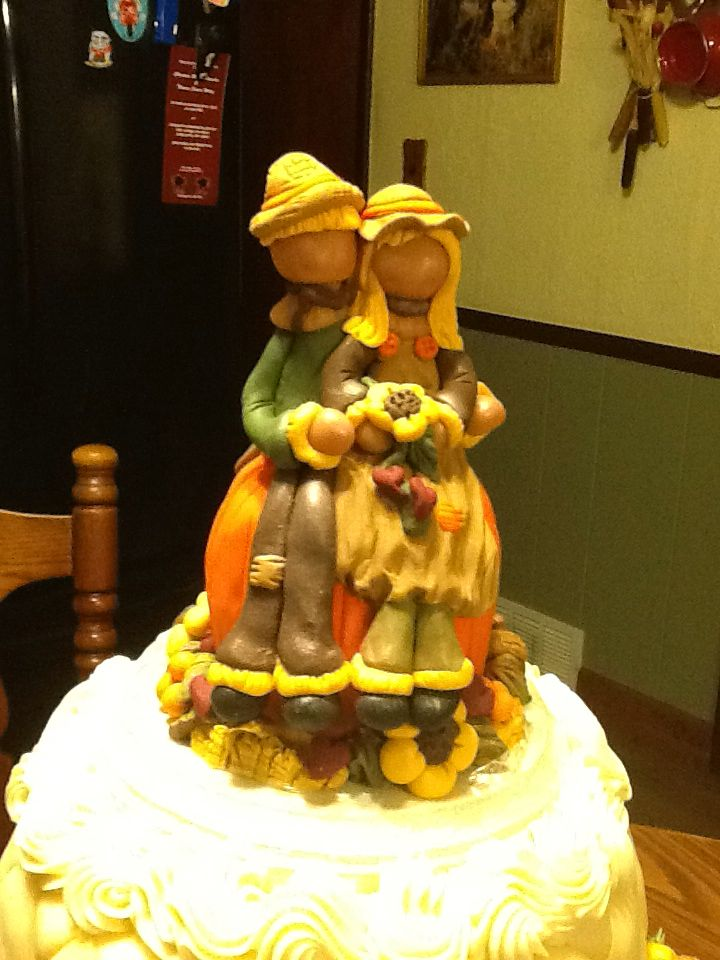 Scarecrow...wedding cake polymer clay cake topper. | \