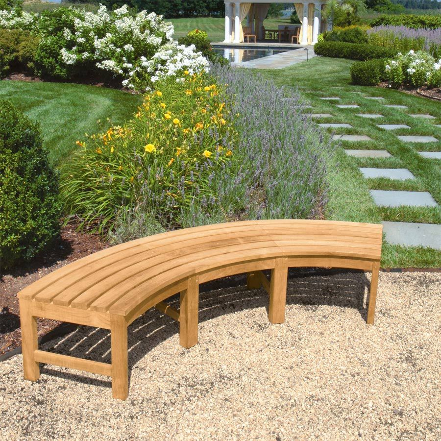 Teak Curved Outdoor Bench Circa Curved Backless Bench Curved Outdoor Benches Curved Bench Curved Patio