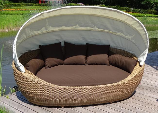 Gartenliege Rattan Grau Design   Trendige Sonneninsel Santa Beach Sonnenliege Gartenliege Sonnenbett
