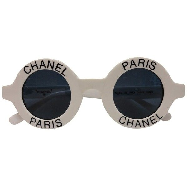 d55c8c5d68e Sunglasses CHANEL ($1,295) ❤ liked on Polyvore featuring accessories,  eyewear, sunglasses, chanel, white glasses, round frame sunglasses, round  lens ...