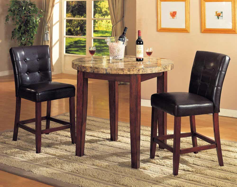 Superior 3 Pc Artificial Marble Top Counter Height Bar Set, Table With 2 Stools