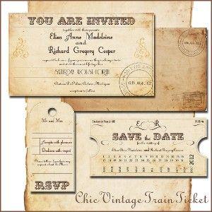 Printable Vintage Wedding Invitations Template Train Ticket