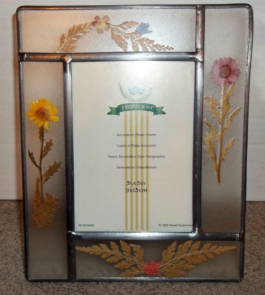 Heirloom decorative glass photo frame w/ dried & pressed flowers ...