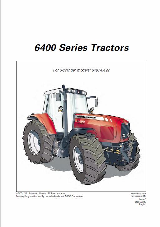 Massey Ferguson 6485 6490 6495 6497 6499 Tractor Service Manual Tractors Massey Ferguson Massey Ferguson Tractors