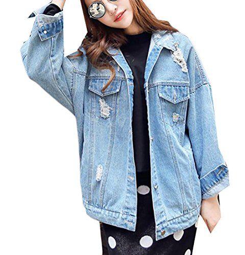f51b759587b Fulok Womens Batwing Sleeve Retro Faded Distressed Loose Denim Jacket Light  Blue Large