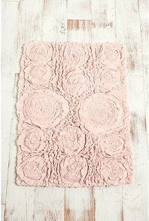 Shabby Chic Bath Mat Blush Ruffled Roses How Much Do You Want To - Beige bath mat for bathroom decorating ideas