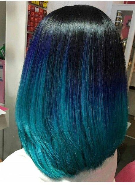 Beautiful And Dark Blue And Black Ombre Medium Length Hair
