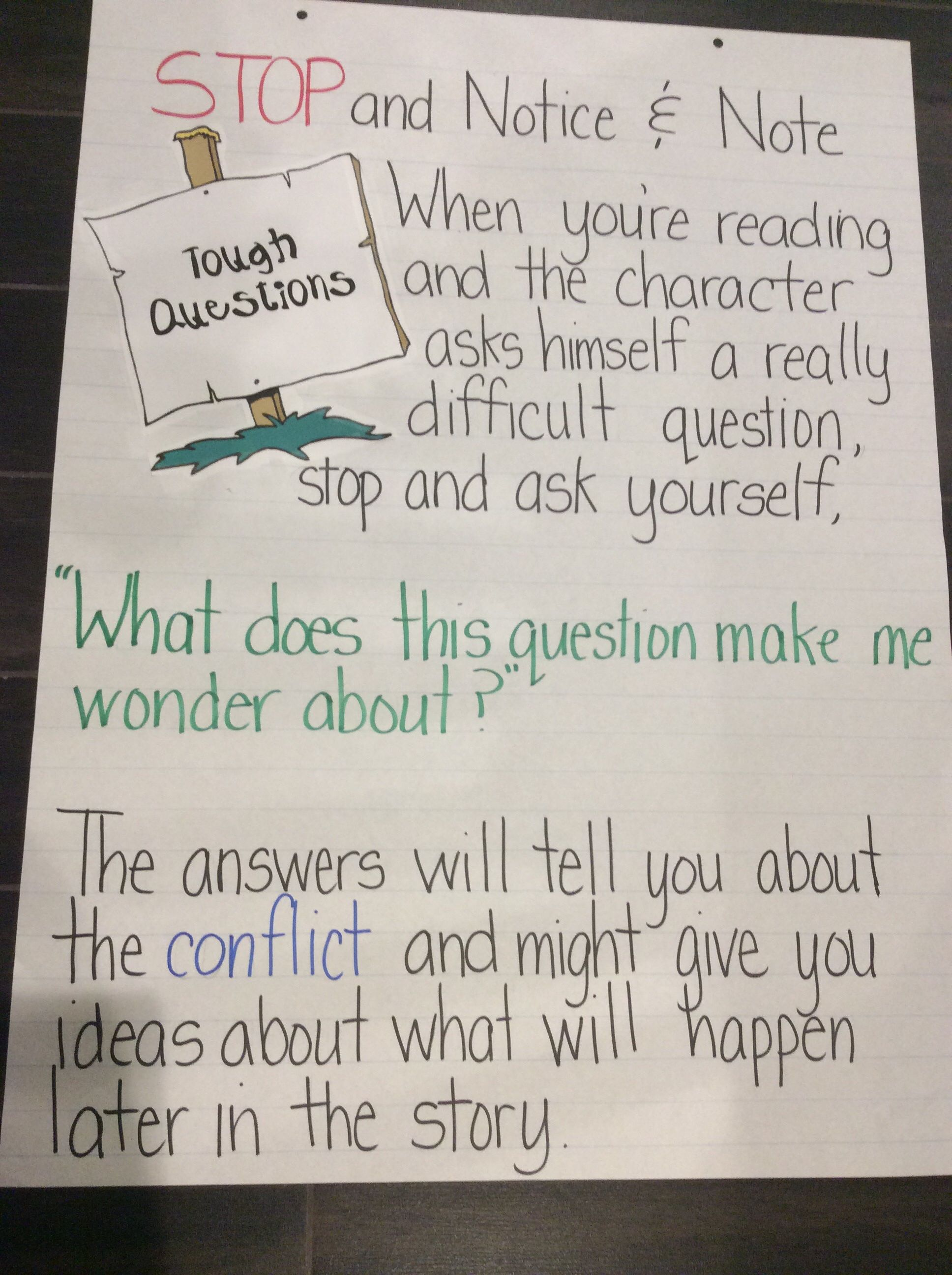 notice and note signpost posters these have helped my students to notice and note anchor chart tough questions i made this myself