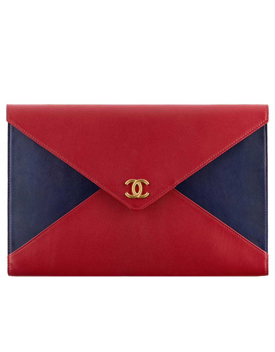 570a352652df Clutch, lambskin & gold-tone metal-red & navy blue - CHANEL | CHANEL ...
