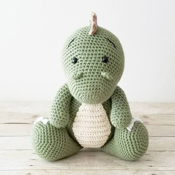 Crochet Dinosaur Doll Toy Stuffed Animal T-Rex Baby Infant Toddler Toy Handheld Learning Toy Nursery Decor Bedding Handmade Baby Shower Gift #crochetdinosaurpatterns