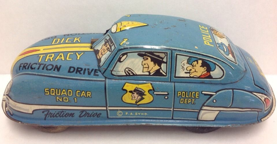 Vintage Marx Friction Drive Dick Tracy Police Car Toy Tin Litho | eBay
