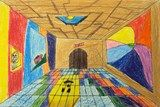 Colored #pencil #museum sketch by Jacob, grade 6, Woodfield Elementary School #art4literacy