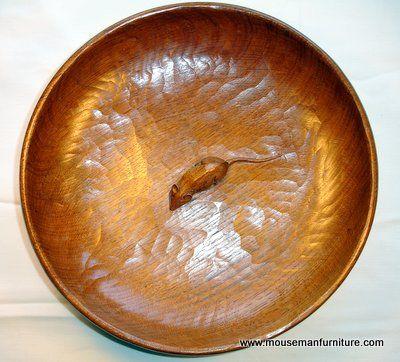 heavy hand tooled fruit bowl ... Mouseman Thompson