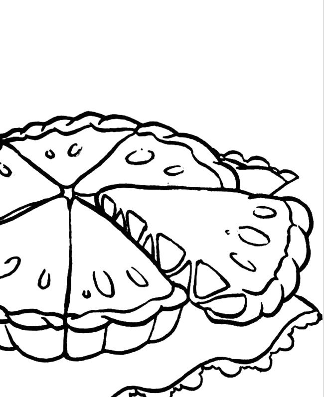 Coloring Pages Apple Pie : Apple pie cake coloring pages food