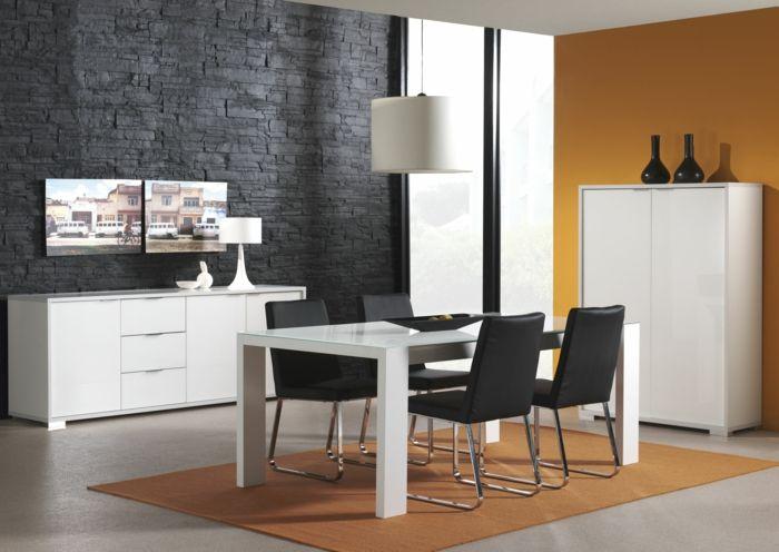 Elegant Wandgestaltung Ideen Esszimmer Schwarze Steinwand Orange Akzentwand