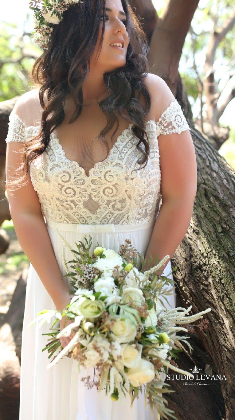 Plus size off shoulder boho wedding dress autumn studio levana