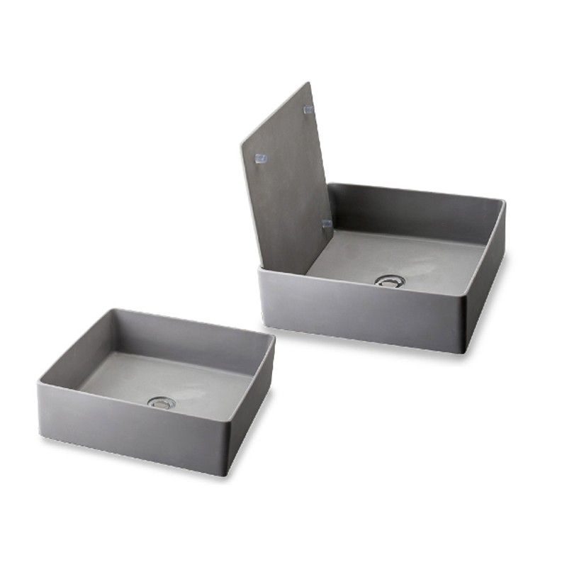 Lavabo in resina da appoggio Trabocchetto grigio 40 cm con piastra acciaio