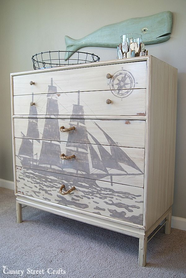 A Painted Ship Silhouette And Diy Rope Pulls On Nautical Dresser Makeover By Canary Street Crafts