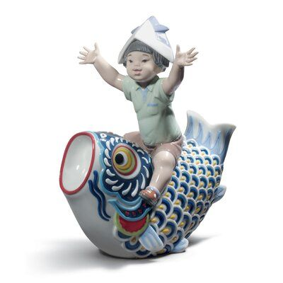 Lladro Child figurine mounted in a glossy porcelain marquee in bright and striking colors of Japanese tradition.