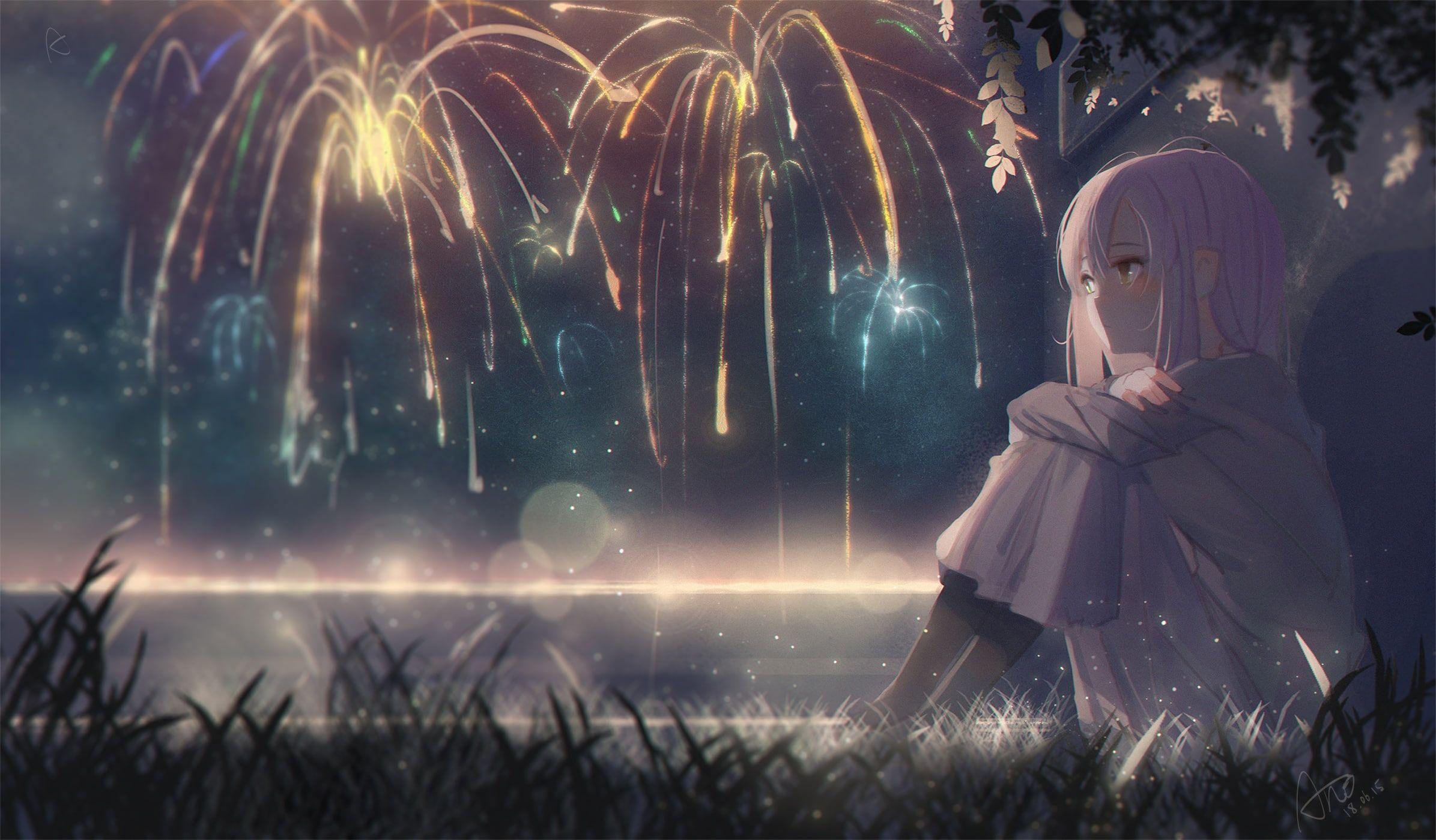 Fireworks anime hd wallpaper