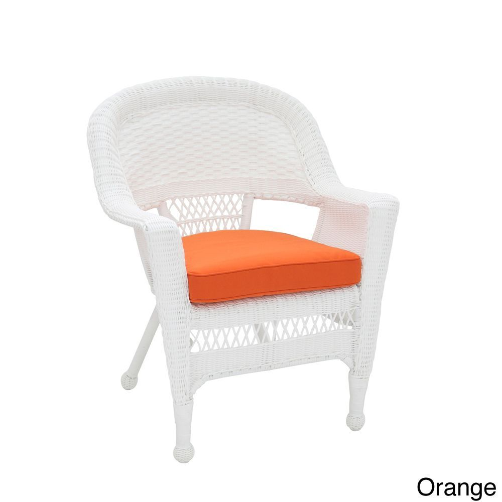 Jeco white wicker chair cushion set of green patio furniture