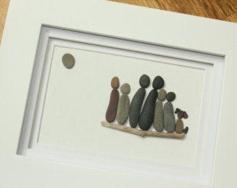 Familia de encargo arte de piedra por SkippingStonesArt en Etsy