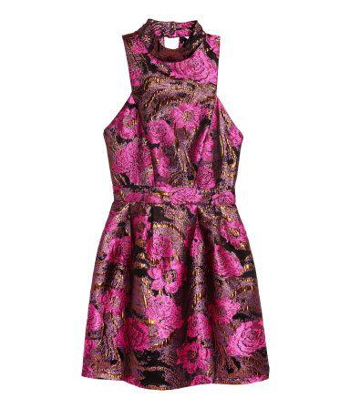 Kleid aus Jacquardstoff | Schwarz/Rosa geblümt | Damen | H ...