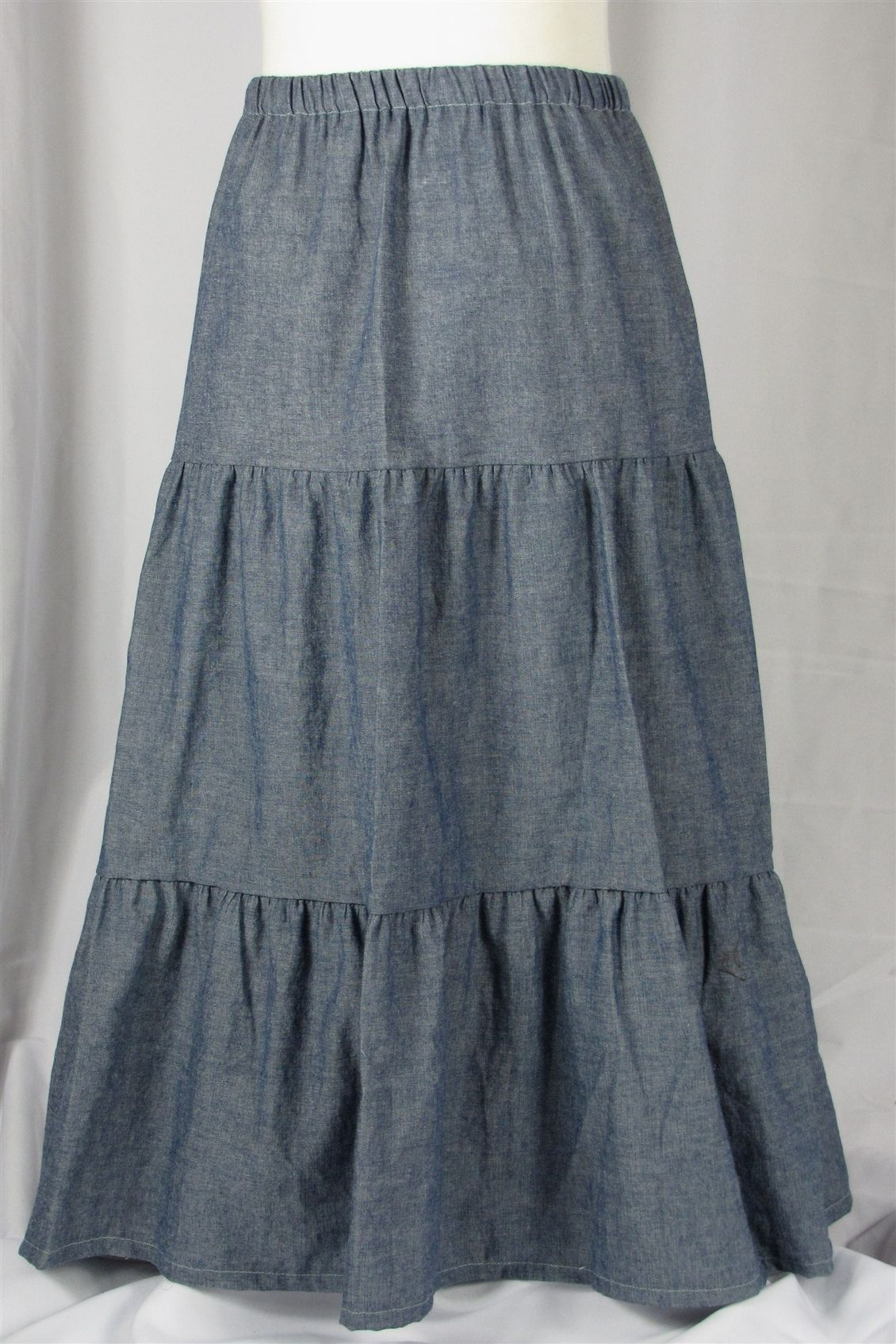 Girls Tiered Long Denim Skirt, Sizes 2-7 | Sewing | Pinterest ...