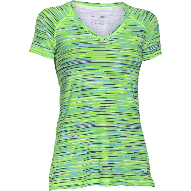 Under Armour Women s Heatgear Armour Mesh Printed V - Neck - White   Hyper  Green  A new evolution of Under… f0cef5095d7