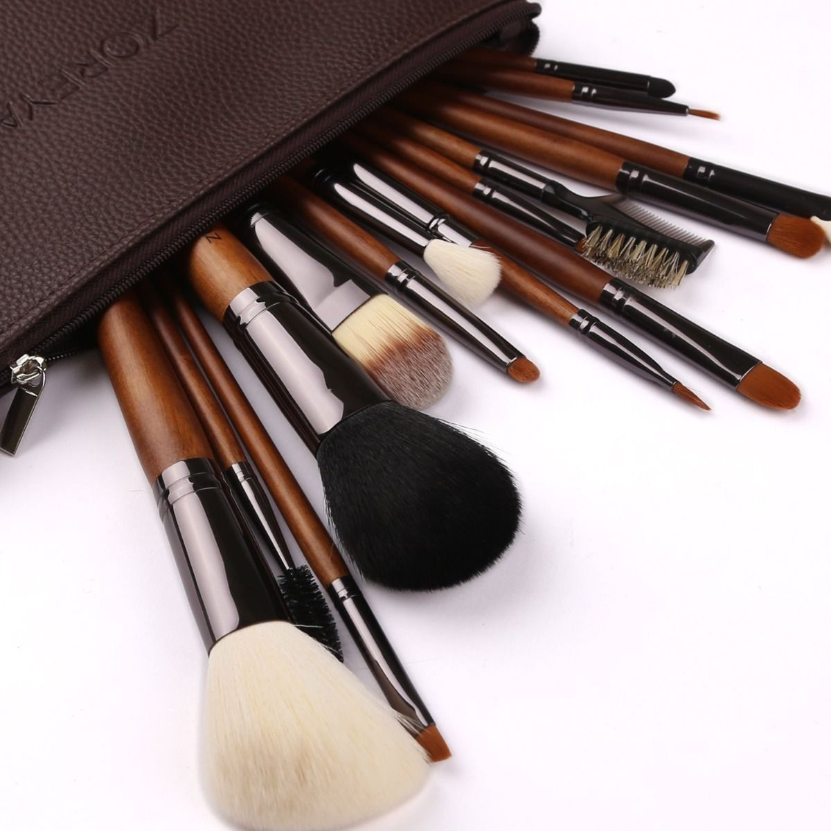 Zoreya Makeup Brushes 15pc High End Real Walnut Handle