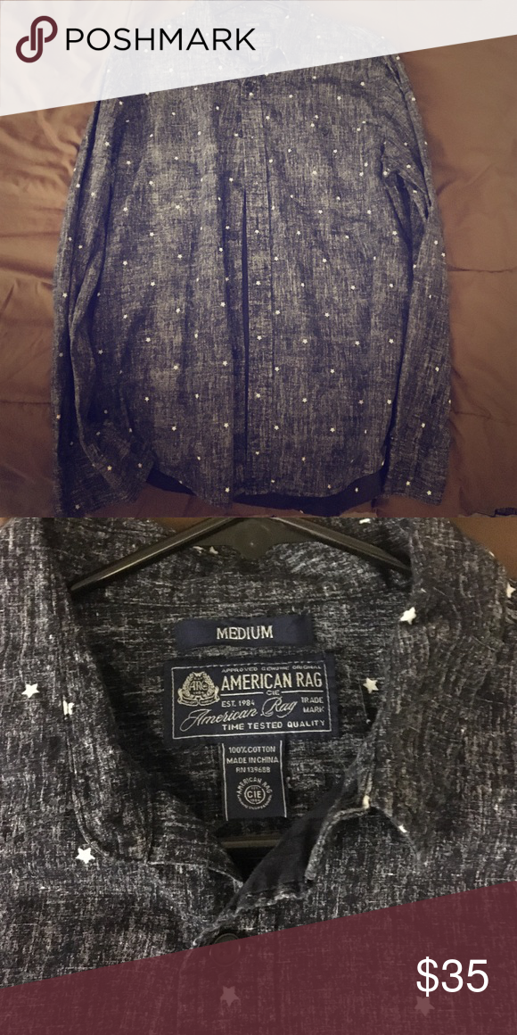 Casual button down Shirt Casual button down shirt with stars | Size Medium | color Grey | no tags but still look new | never used American Rag Shirts Casual Button Down Shirts
